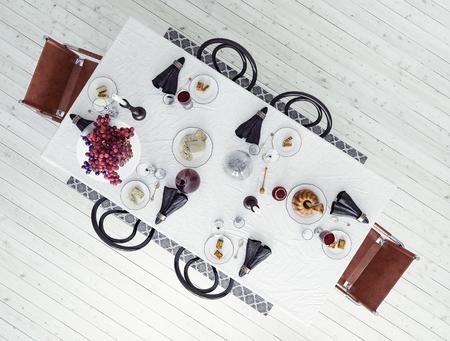 Dining table, Scandinavian interior, 3d render Reklamní fotografie