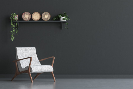 Chair with wall decor in living room interior, black wall mock up background, 3D render