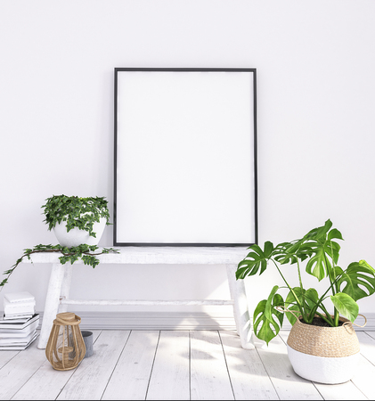 Mock up poster on old bench with flowers and baskets, scandinavian boho style. 3D render