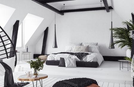 Modern open-plan apartment in attic, loft style, 3d render Stock fotó