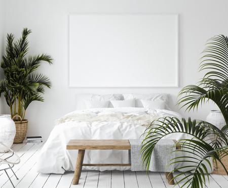 Marco de póster de maqueta en un dormitorio, estilo escandinavo, render 3d Foto de archivo