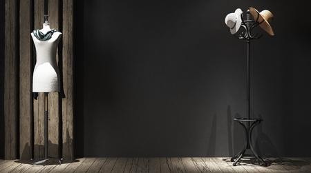 Wall mock-up in atelier, 3d render