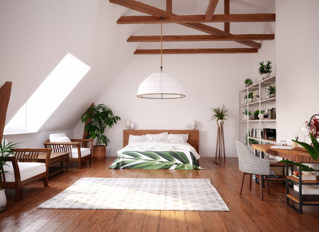 Modern bright open space interior in attic, 3d render Foto de archivo
