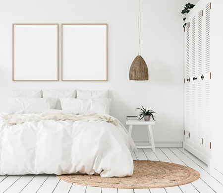 Marco de póster de maqueta en un dormitorio, estilo escandinavo, render 3d