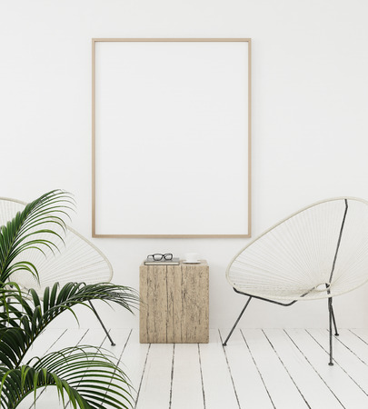 Mock-up poster frame on wall with minimal decor, Scandinavian style, 3d render