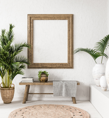 Old wooden frame mock-up in interior background,Scandi-boho style, 3d render Banco de Imagens