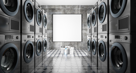 Mock-up in a laundry with rows of washing machines, 3d render