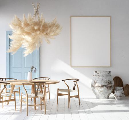 Interior de la casa con maqueta, estilo escandinavo bohemio, render 3d Foto de archivo