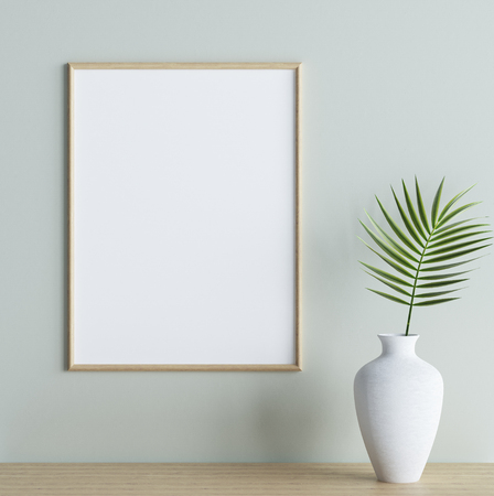 Mock up poster frame with plant in vase on shelf in interior background, 3d render 写真素材