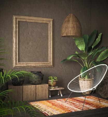 Old wooden frame mock-up in ethnic interior, 3d render