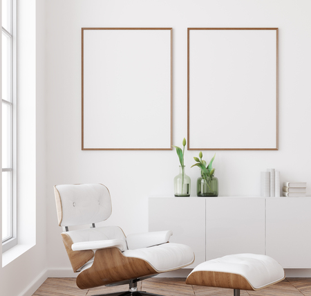 Mockup poster frame in white living room interior background, Scandinavian style, 3d render