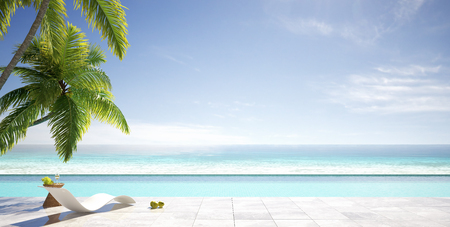Tropical summer, beach lounge with palm trees, swimming pool of luxury villa, summer concept, 3d render