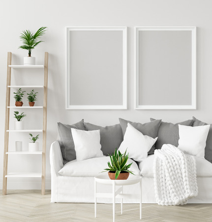 Mock-up frame in interior background,Scandi-boho style, 3d render 版權商用圖片