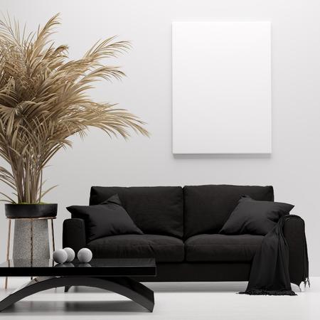 Interior de una casa moderna, maqueta de lienzo, render 3d