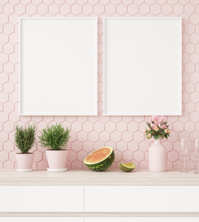 Mock up poster frame in pastel pink kitchen interior, 3d render Stockfoto