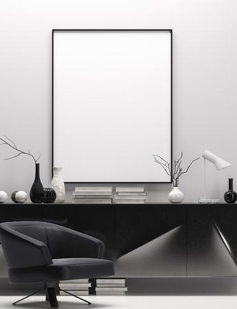 Interior de una casa moderna en colores blanco y negro, simulacro de marco de póster, render 3d