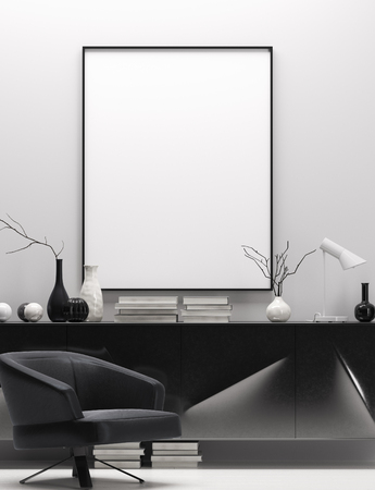 Modern home interior in black and white colors, mock up poster frame, 3d render