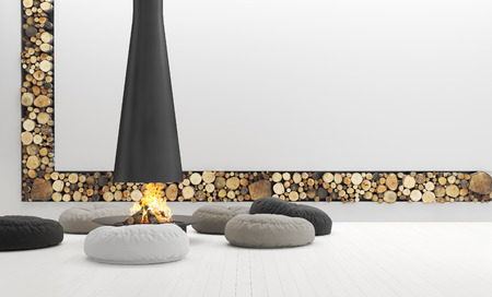 Spacious white living room with modern fireplace, lounge are, 3d render