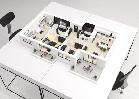 Home floor plan, apartment interior layout on table. 3D render