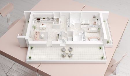 Home idea, interior layout on table. 3D illustration Banco de Imagens