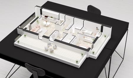 Home idea, interior layout on table. 3D illustration Banco de Imagens