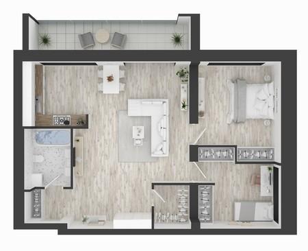 Floor plan of a home top view 3D illustration. Open concept living apartment layout Banco de Imagens
