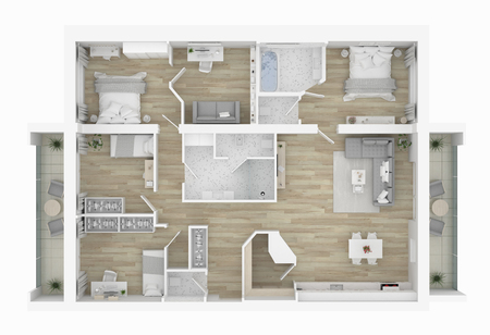 3D Floor plan of a home, 3D illustration. Open concept living apartment layout Banco de Imagens