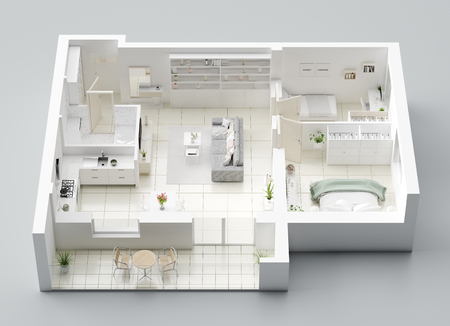 3D Floor plan of a home, 3D illustration. Open concept living apartment layout Фото со стока