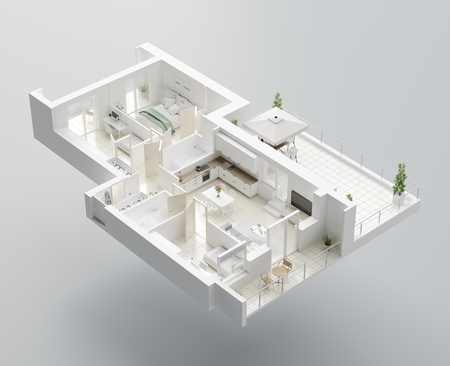 3D Floor plan of a home, 3D illustration. Open concept living apartment layout Archivio Fotografico