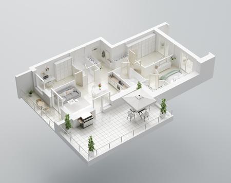 3D Floor plan of a home, 3D illustration. Open concept living apartment layout Banco de Imagens