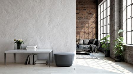 Soppalco soggiorno in stile industriale, rendering 3d