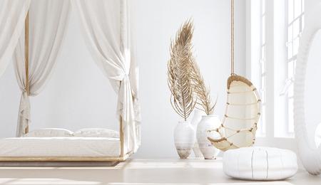 Open slaapkamer met woonkamer, Scandinavische bohemien stijl, 3d render
