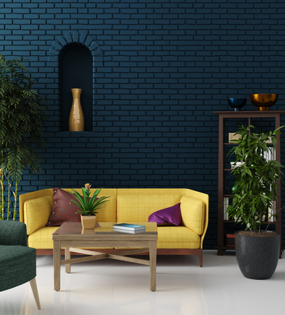 Colorful hipster living room with blue brick wall and yellow sofa, bohemian style, 3d render Stock Photo