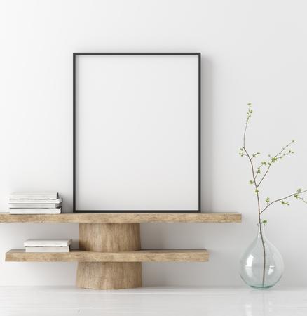 Simulacros de cartel en banco de madera con rama en florero, render 3d