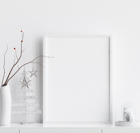 Mock up poster frame with Christmas decoration in home interior, Scandinavian style, 3d render