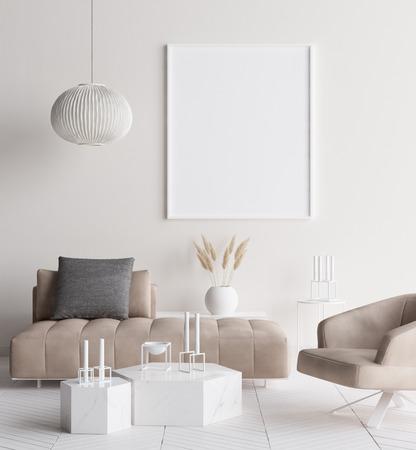 Mock up poster frame in modern home interior. Scandinavian style. 3d render Stock Photo