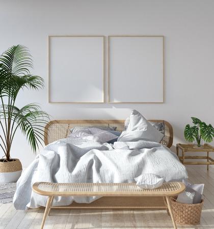 Cadre d'affiche maquette dans une chambre scandinave, style bohème, rendu 3d Banque d'images