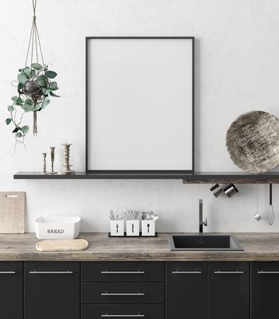 Mock up poster frame in kitchen interior background, Ethnic style, 3d render Reklamní fotografie