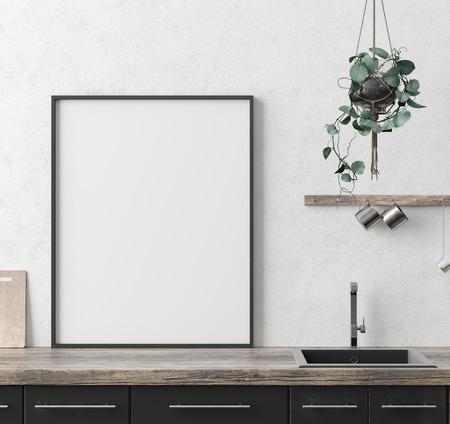 Simulacros de marco de póster en el fondo interior de la cocina, estilo étnico, render 3d