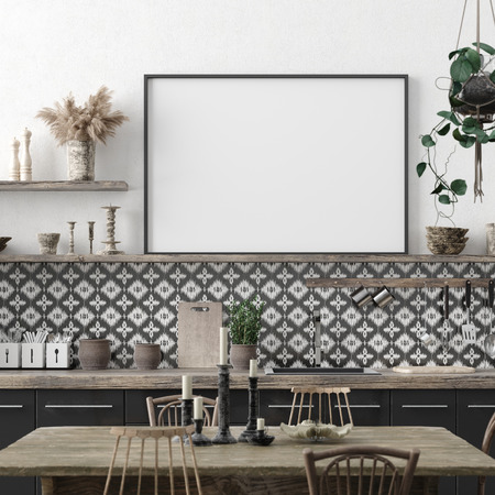 Mock up poster frame in kitchen interior background, Ethnic style, 3d render