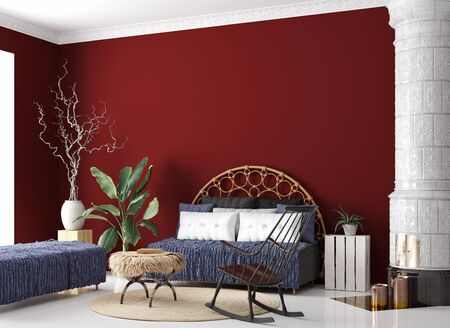 Living room interior in Bohemian style, 3d render Stock Photo