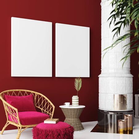 Mock up poster in living room interior, Bohemian style, 3d render Stock Photo
