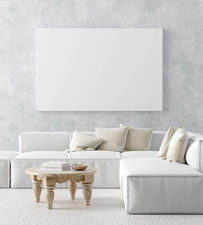 Simulacros de marco de póster en el fondo interior de la casa, estilo Scandi-boho, render 3D Foto de archivo