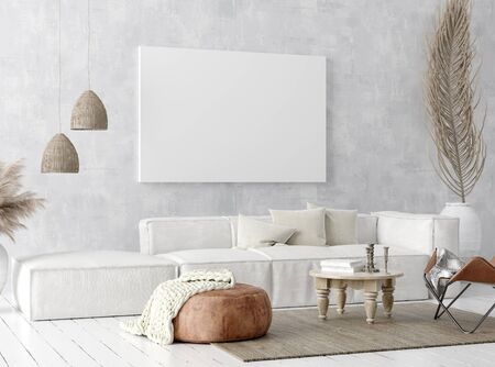 Mock up poster frame in home interior background, Scandi-boho style, 3D render