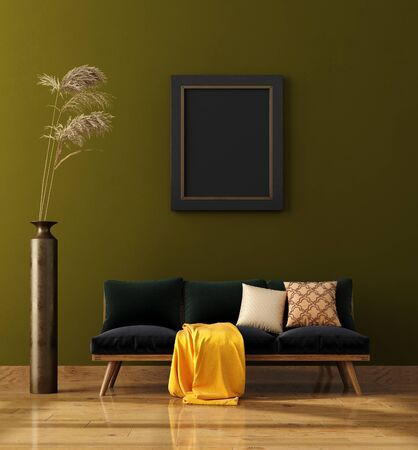 Modern home interior background, mock up poster wall, 3d render