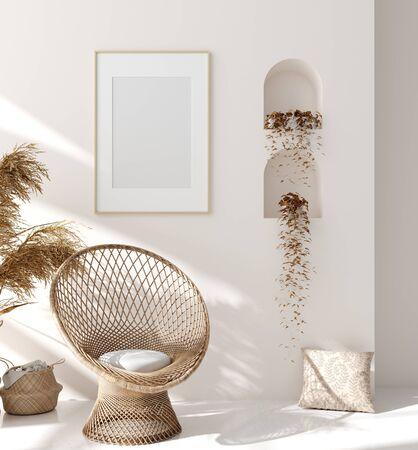 Mock up frame in home interior background, beige room with natural wooden furniture, Scandinavian style, 3d render