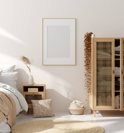 Simulacros de marco en el interior del dormitorio, habitación beige con muebles de madera natural, estilo escandinavo, render 3d