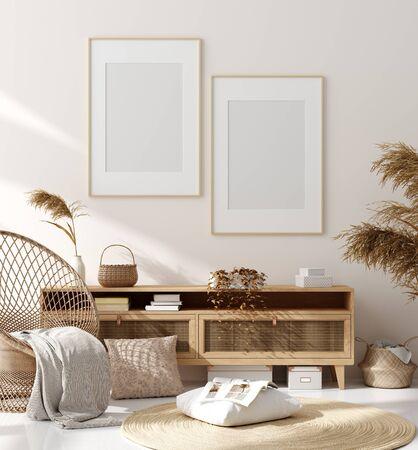 Mock-up frame op de achtergrond van het interieur, beige kamer met natuurlijk houten meubilair, Scandinavische stijl, 3d render Stockfoto