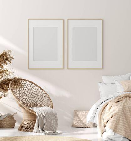 Mock up frame in bedroom interior, beige room with natural wooden furniture, Scandinavian style, 3d render