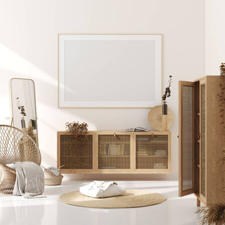 Mock up frame in home interior background, beige room with natural wooden furniture, Scandinavian style, 3d render
